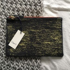 Custom Clare V clutch NEW with tags blue leather